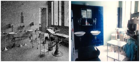 Le bloc opératoire d'Ophtalmologie à son ouverture en 1907 et en 1996.