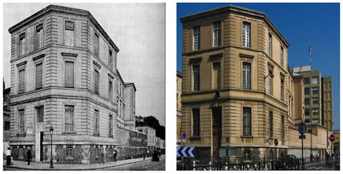 Le pavillon d'Ophtalmologie en  1907 et en 2000