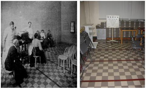 La salle de réfraction et de mesure de l'acuité visuelle en 1907 et 2000